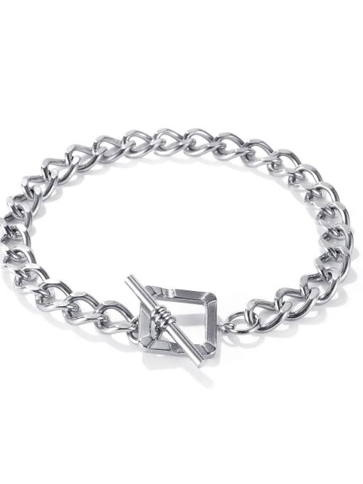 1148 Bracelet [steel color] Titanium Steel Hollow Geometric Chain Vintage Link Bracelet